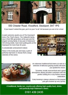 Davenport Arms Woodford, Cheshire (The Thief's Neck) pub. Lovely, traditional, family run, country pub serving great homecooked food. 0161 439 2435