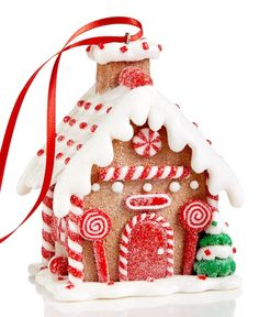 Holiday Lane Candy Cane Gingerbread House Ornament, Only at Macy's