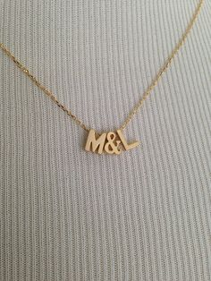 Uppercase initials and ampersand necklace, personalized necklace, gold letters, letter necklace , bridesmaid, gold initial