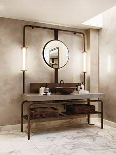 dark metal and concrete bathroom vnaity with open shelving