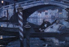 """dean cornwell: illustration for """"one night in venice"""" Nocturne, Dean Cornwell, Evans Art, Moonlight Painting, American Illustration, Traditional Paintings, Classical Art, Sacred Art, Book Covers"""