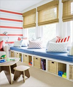 Not sure what to do with a spare room in your home? Transform the space into the ultimate kids playroom! From indoor swings and cool forts to ball pits and reading nooks, check out these 21 kids playroom ideas! Playroom Design, Playroom Storage, Toy Storage, Playroom Bench, Bench Storage, Sunroom Playroom, Storage Ideas, Playroom Colors, Storage Baskets