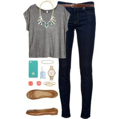 A fashion look from November 2013 featuring H&M t-shirts, J Brand jeans and Tory Burch flats. Browse and shop related looks.