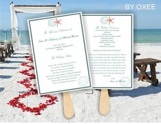 Printable Wedding ceremony fan program template Tiffany by Oxee, $5.00