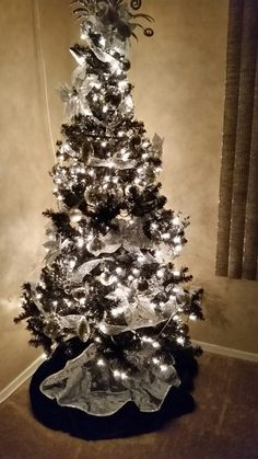 My black and silver Christmas tree.  So pleased how it turned out. Black Christmas Tree Decorations, Black Christmas Trees, Merry Christmas Happy Holidays, Office Christmas, Christmas Scenes, Xmas Tree, Beautiful Christmas, Christmas Time, Halloween Decorations
