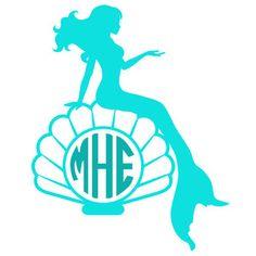 Silhouette Design Store: mermaid sea shell monogram frame
