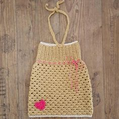 Crochet dress with pink heart by AllesMooi on Etsy