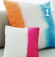 Dip-dyed pillows. Celebrating 35 days of Sweet Paul crafts through the new Rit Studio Sweet Paul book.