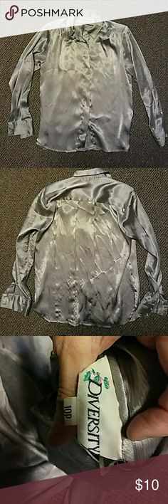Silver blouse Silver long sleeve blouse, fancy or casual. Size 10 p diversity Tops Blouses Diversity, Fashion Tips, Fashion Design, Fashion Trends, Size 10, Blouses, Fancy, Best Deals, Long Sleeve