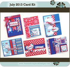 www.premierscrapbookdesigns.com JULY 2013 card making kit featuring Doodlebug Designs (complete with instructions) by Premier Scrapbook Designs (featured at scrapclubs.com)