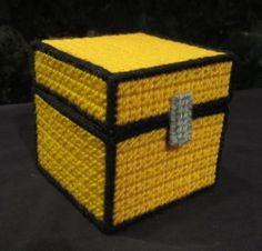 Minecraft Chest Made From Plastic Canvas by Robert