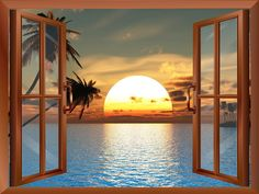 "Amazon.com - Wall26® - Tropical Beach Landscape with Palm Trees at Sunset View from inside a Window | Wall26 High Quality Removable Wall Sticker / Wall Mural - 36""x48"" -"
