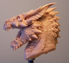 Smaug Dragon Bust Concept Sculpture by Creaturae Art Sculpture, Sculptures, Dragons, Creation Art, Hr Giger, Dragon Art, Dragon Head Drawing, Smaug Dragon, Dragon King