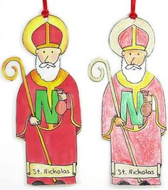 """""""N"""" is for Saint Nicholas! Make him as an ornament or as a stand-up figure. Print in color or black and white. Easy and fun."""