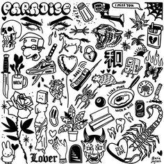 "@ignorant_tattoos shared a photo on Instagram: ""Big mixed sheet by @ariejaytats . . . . . . . . . #flashbook #flashtattoo #flashtats #tattooflash #tattooflashes #flashwork…"" • Aug 12, 2021 at 11:05am UTC Flash Tats, Tattoo Flash Art, Mini Tattoos, Cool Tattoos, Blackwork, Homemade Tattoos, Spooky Tattoos, Pisces Tattoos, Tatoo Designs"