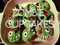 Horror Show Pistachio Zombie Cupcakes (uses cake mix & pudding mix)