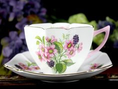 Shelley Floral Teacup and Saucer, Art Deco, c1945-1966 Tea Cup 12910 - The Vintage Teacup - 2