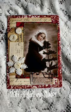 Christmas Wishes HANDMADE Paper Collage Greeting card  with button accents