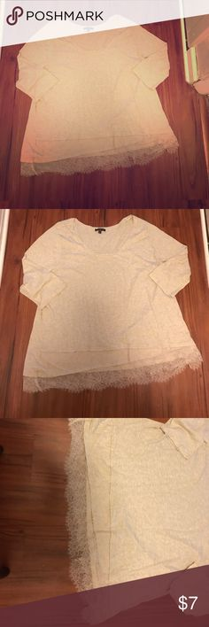 Layne Bryant lace detailed shirt Cute cream color shirt. It has lace and layering on the bottom that makes this top great for work and to go out for the night! Lane Bryant Tops Blouses