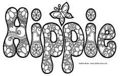 70s Hippie Coloring Pages Printable