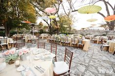 An outdoor reception in the Convent Garden at the Southwest School of Art. Event planning and design by The French Connection, Floral Design by Mandarin Flower of Austin, Catering by Don Strange. Photo courtesy of Perez Photography.