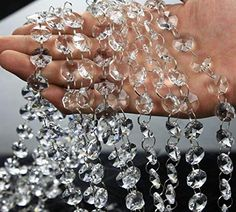 Musdoney Feet Clear Crystal Beads Clear Chandelier Bead Lamp Chain for Wedding Party Tree Garlands Decoration, DIY Jewelry Making,and Other DIY Craft Projects Crystal Garland, Beaded Garland, Garlands, Chandelier Crystals, Diy Chandelier, Chandeliers, Pearl Garland, Chandelier Wedding, Chandelier Makeover