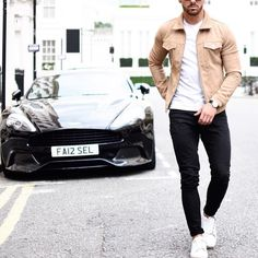Tan #suede jacket black jeans and white sneakers by @rowanrow [ http://ift.tt/1f8LY65 ]