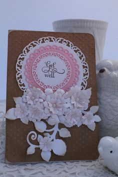 Get Well Card handmade OOAK pink white Kraft paper by HydeParkHill on Etsy