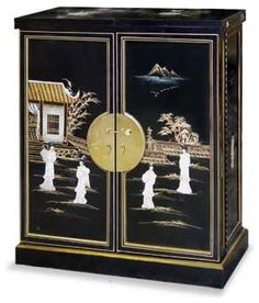 Oriental asian japanese chinese black and golden lacquer liquor ...