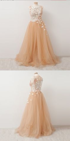 Outlet Magnificent Champagne Prom Dresses Vogue A-Line Champagne Scoop Neckline Appliqued Tulle Long Prom Dresses Online Homecoming Dresses Long, Prom Dresses Two Piece, Unique Prom Dresses, Gala Dresses, Black Prom Dresses, A Line Prom Dresses, Prom Dresses Online, Dress Prom, Court Dresses