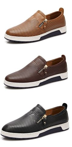 US$39.83 Men Side Zipper Hole Breathable Flat Slip On Casual Leather Shoes
