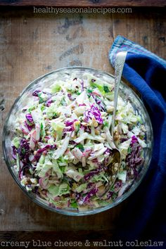 Creamy Blue Cheese and Walnut Coleslaw on healthyseasonalrecipes.com