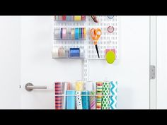 White elfa utility Gift Packaging Door & Wall Rack Solution | The Container Store