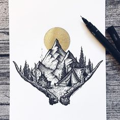 Drawing sketches, pencil drawings, drawing designs, travel mugs, coffee tra Tattoo Sketches, Drawing Sketches, Tattoo Drawings, Cool Drawings, Pencil Drawings, Natur Tattoos, Kunst Tattoos, Body Art Tattoos, Montain Tattoo