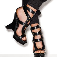 9b418b62dc2556 Black polished leather Wedge Platform Sandal with screw stud detail.   TOMFORD  TFCRUISE16 Tom