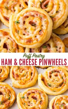 Easy Ham and Cheese Pinwheels with Puff Pastry. Just FOUR ingredients! Everyone loves these simple and delicious puff pastry appetizers. Easy to make ahead, delish, and perfect for holiday parties too! #wellplated #puffpastry #easy
