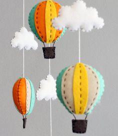 DIY baby mobile kit - make your own hot air balloon crib mobile, green orange yellow. LOVE it!!