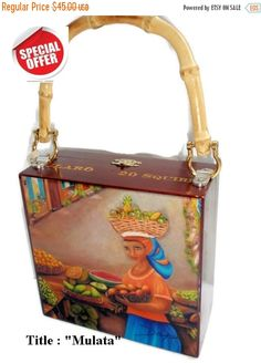 REDUCE PRICE Exclusive Cigar Box Purse w/ Bamboo by thebestart1122