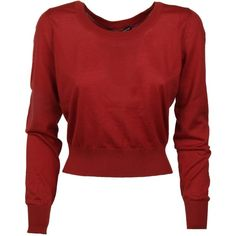 Dolce & Gabbana Cropped Sweater (1.875 BRL) ❤ liked on Polyvore featuring tops, sweaters, red, round neck crop top, red top, long sleeve sweater, cut-out crop tops and red sweater