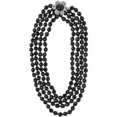 Pre-owned Chanel Vintage Blue Floral Pearl Necklace ($1,950) ❤ liked on Polyvore featuring jewelry, necklaces, multiple strand pearl necklace, multi strand pearl necklace, pearl choker, chanel jewelry and layered chain necklace
