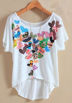White Heart Print Bat Short Sleeve Cotton T-Shirt