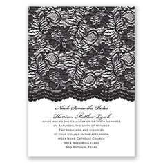 Black Lace wedding invitation #Vintage #DavidsBridal #WeddingInvitations http://www.invitationsbydavidsbridal.com/Wedding-Invitations/Vintage-Invitations/2947-DB35638-Embellished-Lace--Black--Invitation.pro?&sSource=Pinterest&kw=Vintage_DB35638