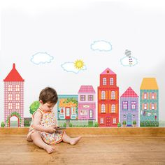 Girl's Dollhouse Town Wall Decals Removable & Repositionable