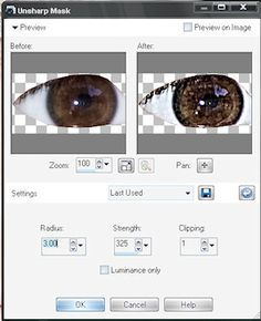 How to make eyes sparkle in Paint Shop Pro using Unsharp Mask.  |   Paint Shop Pro Tutorials