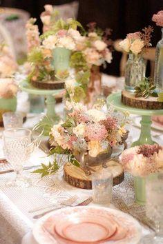 Peach table scape. Peach wedding