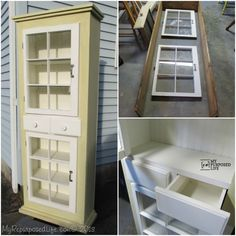 How to make a farmhouse window cupboard with repurposed windows and reclaimed lumber from an old water bed. Tips so you can do it yourself! Furniture Projects, Online Furniture, Diy Furniture, Bedroom Furniture, Kitchen Furniture, Diy Projects, Furniture Outlet, Garden Furniture, Antique Furniture