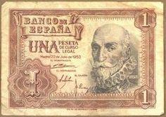 Bitllet d'una pesseta. Any 1953 (Biblioteca de Catalunya) Antique Coins, Ephemera, Vintage World Maps, Nostalgia, 1, Madrid, Antiques, Collection, Old Money