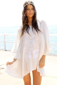 Ivory Kaftan Dress with Bell Sleeves & Embroidered Front