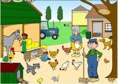 Boerderij praatplaat Farm Theme, Card Games, Game Cards, Toddler Preschool, Teaching English, Country Life, Images, Language, Family Guy