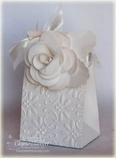 Gorgeous! White-on-white Flower gift bag